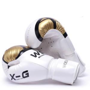 Gants de boxe professionnels en cuir synthétique Gants de boxe Accessoires boxe Couleur: Blanc Taille: M